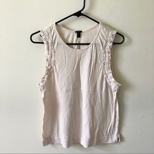 J. Crew Pink Crochet Boho Detailed Tank Top